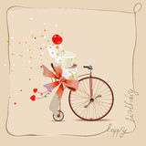 Happy birthday romantic greeting card. Bicycle and cake. Vintage style. Stock Photos