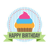 Happy Birthday Round Banner Tag Royalty Free Stock Photo