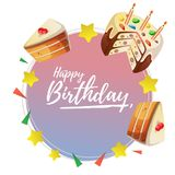 Happy birthday round card with tart. Additional in vector eps 10 file Stock Photos