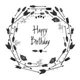 Happy Birthday Round frame of arrows and leaves Royalty Free Stock Photography