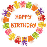 Happy birthday round frame with gift boxes. Colorful vector illustration Stock Photos