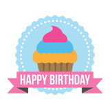 Happy Birthday Round Zig Zag Tag Royalty Free Stock Photo