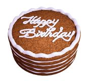 Happy birthday: sandwiched chocolate cake. Over white Stock Photography