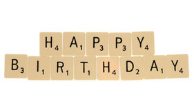 Happy birthday scrabble letters Stock Photos
