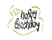 Happy birthday script lettering Royalty Free Stock Photo