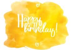 Happy Birthday Script yellow. Stock Photography