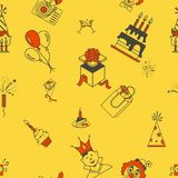 Happy Birthday Background. Happy Birthday Seamless Background Pattern. Simple, Minimalistic and Flat Style. Colorful. Vector Royalty Free Stock Images