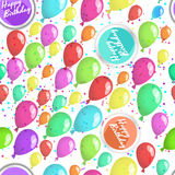 Happy birthday seamless pattern with ballons Stock Photos