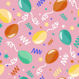 Happy Birthday Seamless Pattern with Balloons Stock Photo