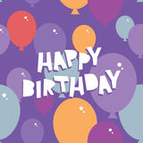 Happy birthday Seamless pattern with balloons. Purple background. Vector Royalty Free Stock Image