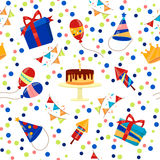Happy Birthday Seamless Pattern. With Cake, Balloons and Gift Boxes. Vector background Stock Photos
