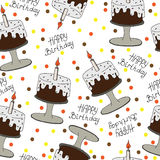 Happy Birthday seamless pattern with cake and candle. Isolated greeting card Happy Birthday. Seamless vector pattern for banner, card, invitation, textile Royalty Free Stock Image
