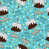 Happy Birthday seamless pattern with cake and candle. Isolated greeting card Happy Birthday. Seamless vector pattern for banner, card, invitation, textile Royalty Free Stock Images