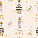 Happy Birthday seamless pattern with cake with candle and star. With greeting text. Vector illustration Royalty Free Stock Images