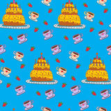 Happy Birthday Seamless Pattern with Cake Royalty Free Stock Photography