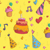 Happy Birthday Seamless Pattern with Cake Royalty Free Stock Image