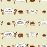 Happy birthday seamless pattern with cake. Decoration to anniversary. Vector illustration Stock Images