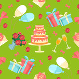 Happy Birthday Seamless Pattern with Cake. Flowers and Balloons. Vector background Stock Image