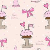 Happy Birthday seamless pattern with cake, heart and flag. With text. Vector illustration Stock Photos