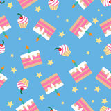 Happy Birthday Seamless Pattern with Cakes Stock Photo