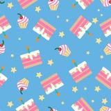 Happy Birthday Seamless Pattern with Cakes Stock Photo