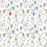 Happy birthday seamless pattern. Cartoon funny bird. Stock Images