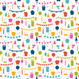 Happy Birthday seamless pattern with colorful party elements. Ba. Lloons, flags, gifts, confetti, cupcakes, candles, bows and decorative ribbons. Vector Royalty Free Stock Photography