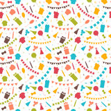 Happy Birthday seamless pattern with colorful party elements. Ba. Lloons, gifts, flags, confetti, cupcakes and candles. Vector illustration Stock Images