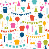 Happy Birthday seamless pattern with colorful party elements.. Balloons, flags, confetti, cupcakes, gifts, candles, bows and decorative ribbons. Vector Royalty Free Stock Images