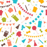 Happy Birthday seamless pattern with colorful party elements.. Balloons, flags, gifts, confetti, cupcakes and candles. Vector illustration Royalty Free Stock Images