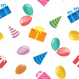 Happy Birthday Seamless Pattern with Gift Boxes and Balloons. Vector Background Royalty Free Stock Photo