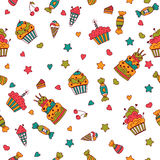 Happy birthday seamless pattern. Hand drawn vector celebration b Royalty Free Stock Photos