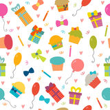 Happy Birthday seamless pattern with hearts. Vector background f. Or your design. Vector illustration Stock Photography