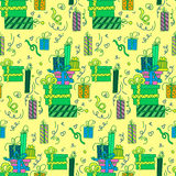 Happy Birthday Seamless Pattern with Presents Royalty Free Stock Photo