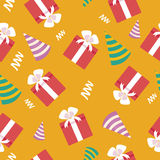 Happy Birthday Seamless Pattern with Presents Royalty Free Stock Photos