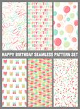 Happy birthday seamless pattern vector background set. Design stock images