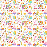 Happy birthday seamless pattern vector. Celebratory seamless pattern with gifts, balloons, confetti, hearts. Happy birthday celebration decoration background Stock Photos