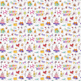 Happy birthday seamless pattern vector. Royalty Free Stock Image