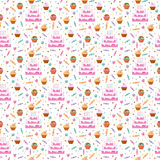 Happy birthday seamless pattern vector. Celebratory seamless pattern with gifts, balloons, confetti, hearts. Happy birthday seamless pattern celebration Stock Photos