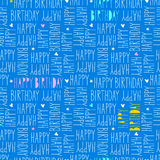 Happy birthday seamless pattern. Vector illustration Stock Photos