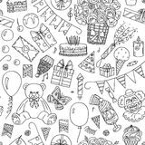 Happy Birthday seamless pattern. Vector illustration Royalty Free Stock Image