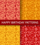 Happy birthday seamless patterns Royalty Free Stock Photos