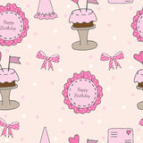 Happy Birthday seamless with pink sticker with text, cake and gi. Ft, letter and other. Vector illustration Royalty Free Stock Photography