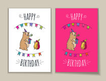 Happy birthday set of card with bear and hedgehog characters. Happy birthday card set. Vector illustrated poster with bear and hedgehog characters Stock Photo