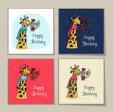 Happy birthday set of card with giraffe character and flowers. Happy birthday card set. Vector illustrated poster with giraffe character and flowers Stock Images