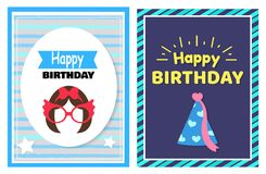 Happy Birthday Set of Cards Vector Illustration. Happy Birthday, set of cards hairstyle and glasses, celebration cap, pattern consisting of stripes, headlines Royalty Free Stock Photos