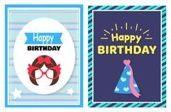 Happy Birthday Set of Cards Vector Illustration. Happy Birthday, set of cards hairstyle and glasses, celebration cap, pattern consisting of stripes, headlines stock illustration