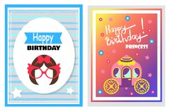 Happy Birthday, Set of Cards Vector Illustration. Happy Birthday little princess, set of cards with greetings, hairstyle and glasses, carriage and flowers with vector illustration