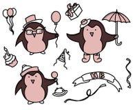 Happy birthday set of cartoon elements stock illustration