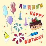 Happy birthday set In cartoon style. Vector illustration. Happy birthday set In cartoon style. Vector illustration Royalty Free Stock Photos